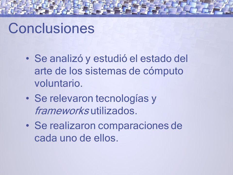 Conclusiones Se analizó y estudió el estado del arte de los sistemas de cómputo voluntario.