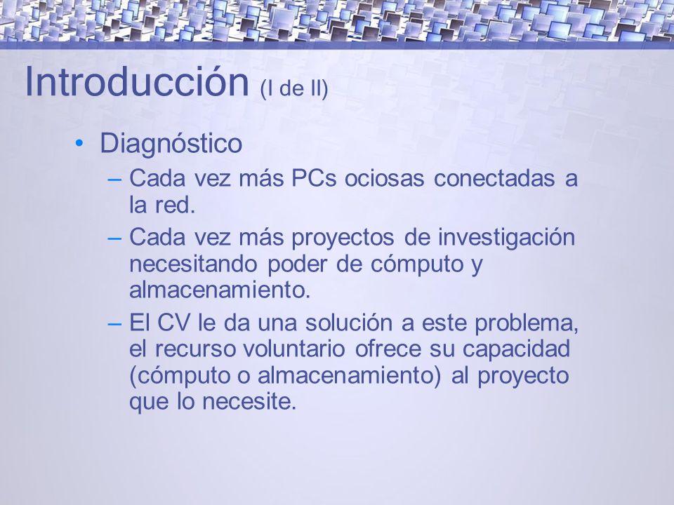 Introducción (I de II) Diagnóstico – Cada vez más PCs ociosas conectadas a la red.