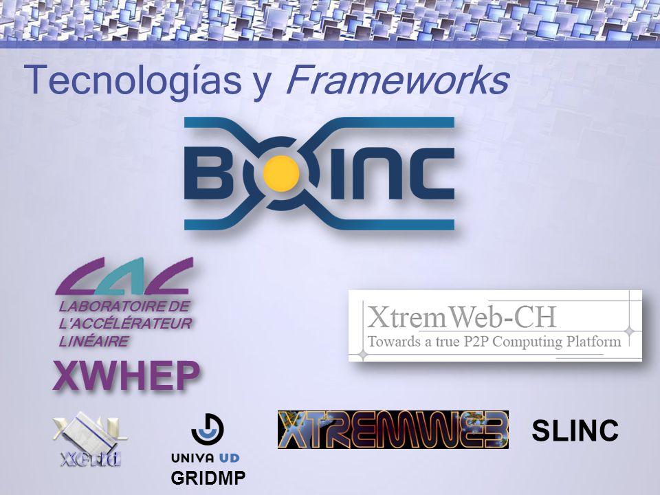 Tecnologías y Frameworks SLINC XWHEP LABORATOIRE DE L ACCÉLÉRATEUR LABORATOIRE DE L ACCÉLÉRATEUR LINÉAIRE GRIDMP