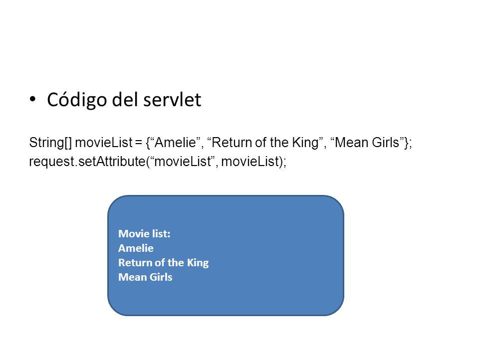Movie list: Amelie Return of the King Mean Girls Código del servlet String[] movieList = {Amelie, Return of the King, Mean Girls}; request.setAttribut