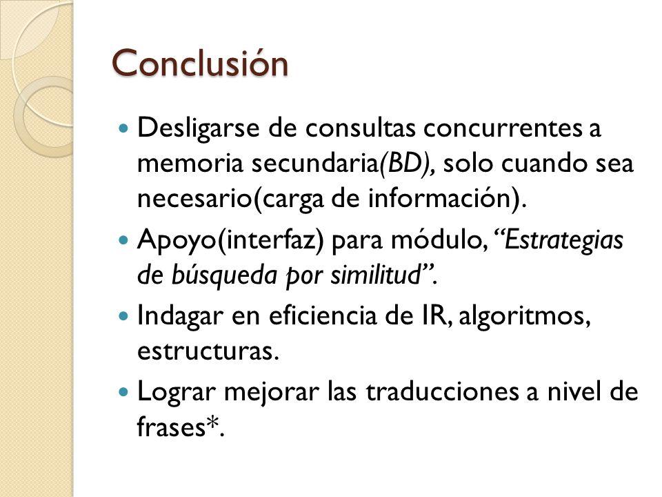 Conclusión Desligarse de consultas concurrentes a memoria secundaria(BD), solo cuando sea necesario(carga de información). Apoyo(interfaz) para módulo