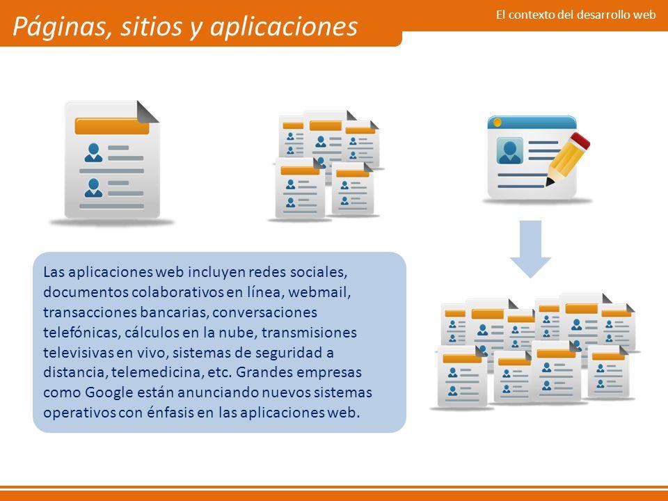 El contexto del desarrollo web Páginas, sitios y aplicaciones Las aplicaciones web incluyen redes sociales, documentos colaborativos en línea, webmail