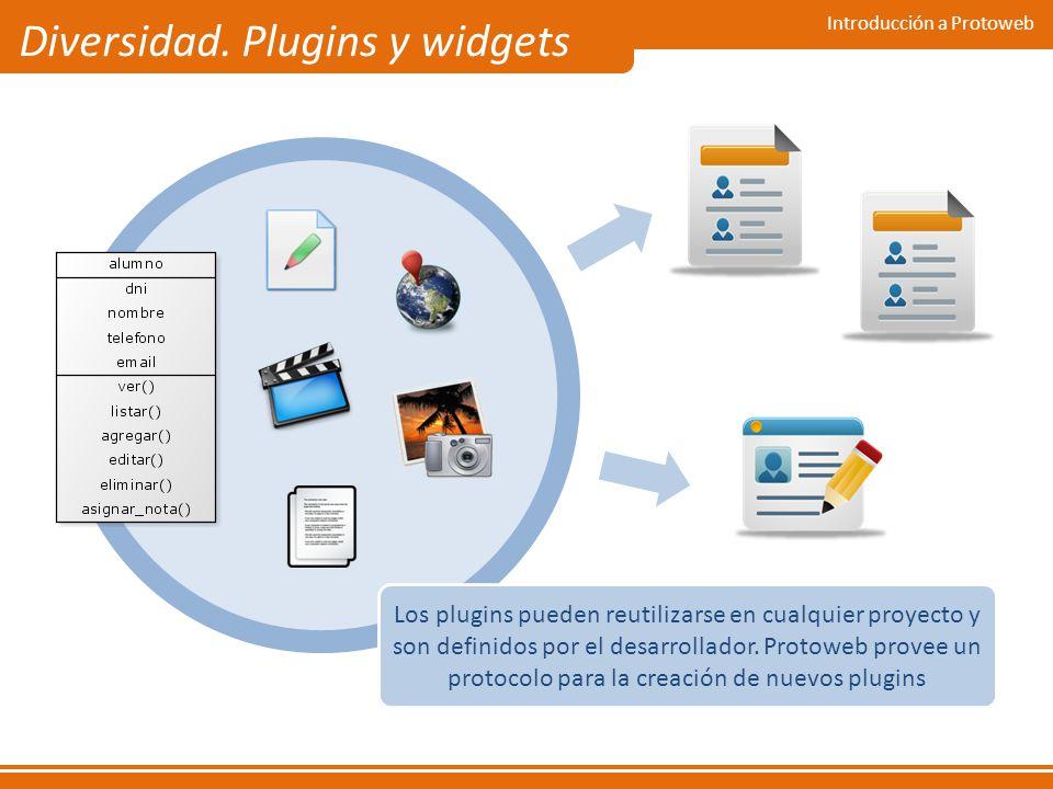 Introducción a Protoweb Diversidad. Plugins y widgets Los plugins pueden reutilizarse en cualquier proyecto y son definidos por el desarrollador. Prot