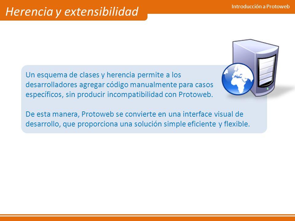 Introducción a Protoweb Herencia y extensibilidad Un esquema de clases y herencia permite a los desarrolladores agregar código manualmente para casos