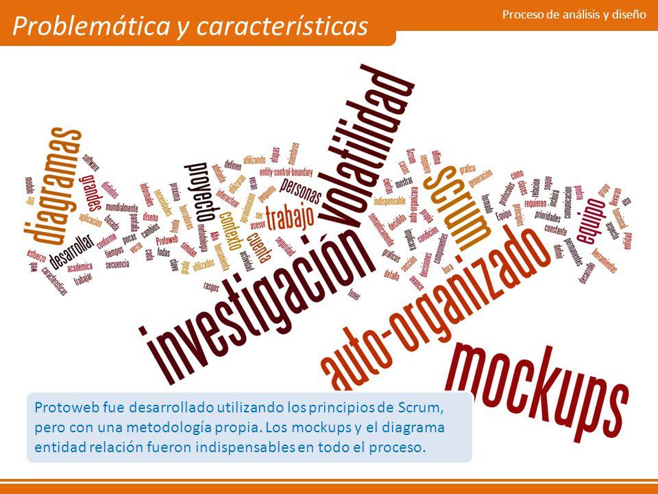 Proceso de análisis y diseño Problemática y características Protoweb fue desarrollado utilizando los principios de Scrum, pero con una metodología pro