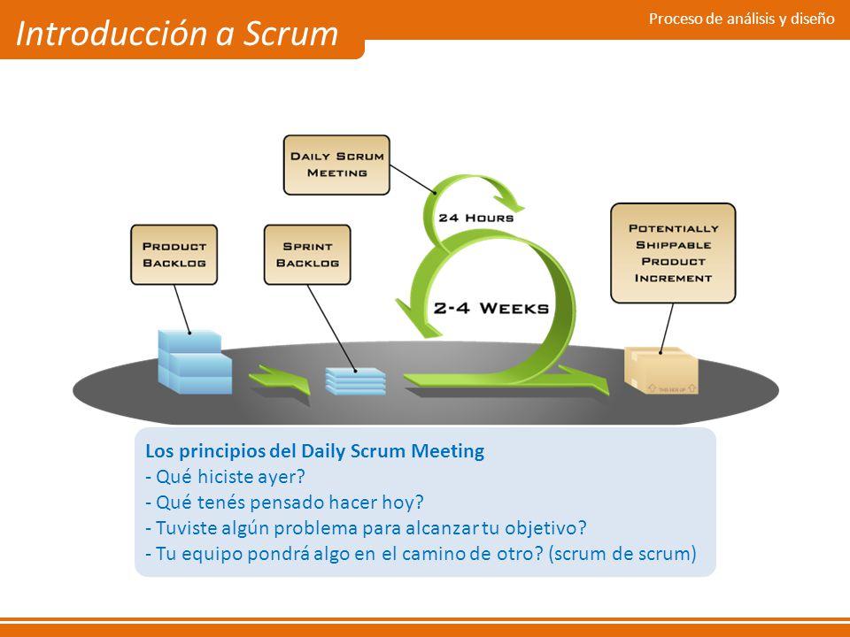 Proceso de análisis y diseño Introducción a Scrum Los principios del Daily Scrum Meeting - Qué hiciste ayer? - Qué tenés pensado hacer hoy? - Tuviste