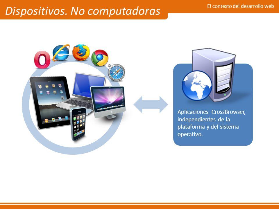El contexto del desarrollo web Dispositivos. No computadoras Aplicaciones CrossBrowser, independientes de la plataforma y del sistema operativo.