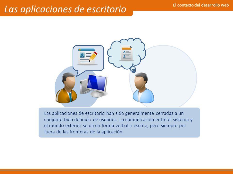 El contexto del desarrollo web Las aplicaciones de escritorio Las aplicaciones de escritorio han sido generalmente cerradas a un conjunto bien definid