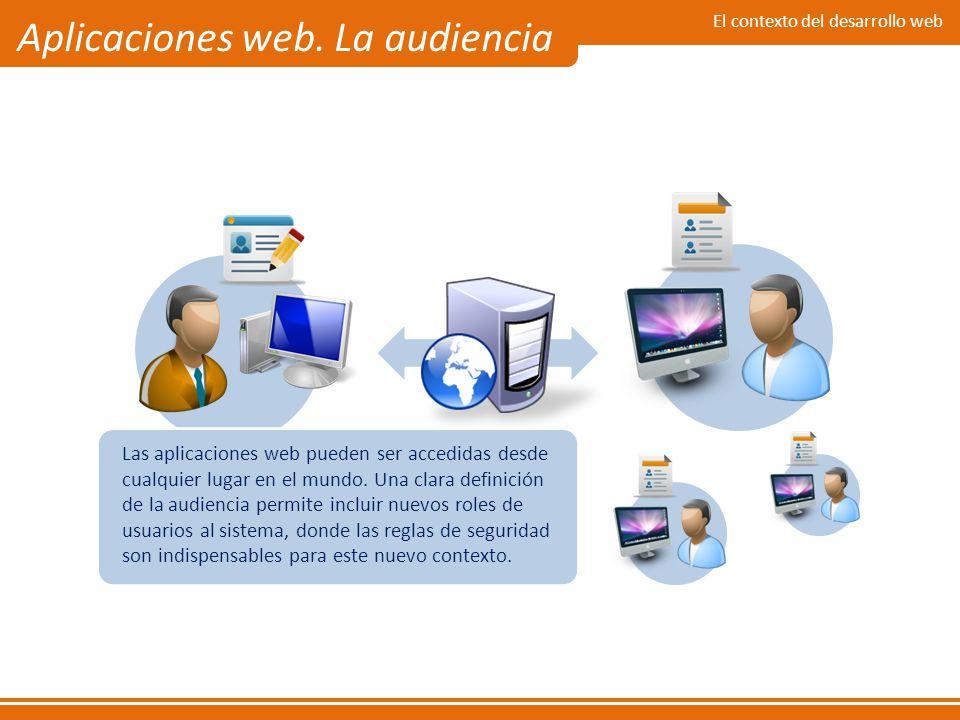 El contexto del desarrollo web Aplicaciones web. La audiencia Las aplicaciones web pueden ser accedidas desde cualquier lugar en el mundo. Una clara d