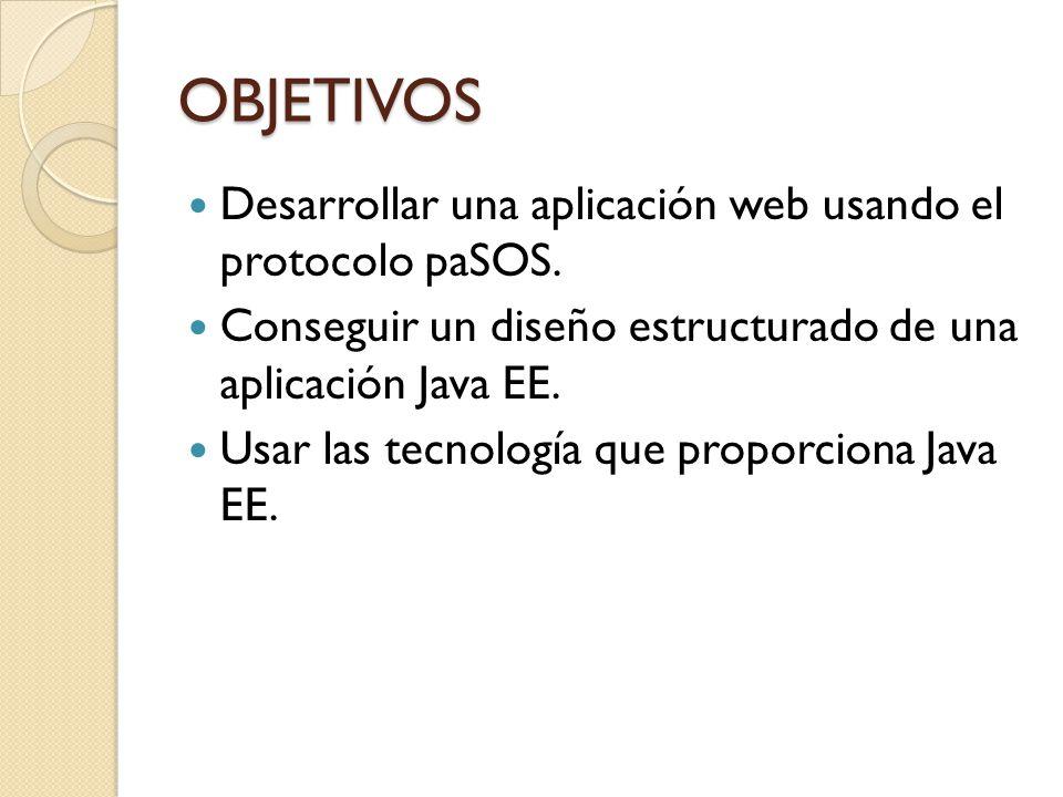 OBJETIVOS Desarrollar una aplicación web usando el protocolo paSOS.
