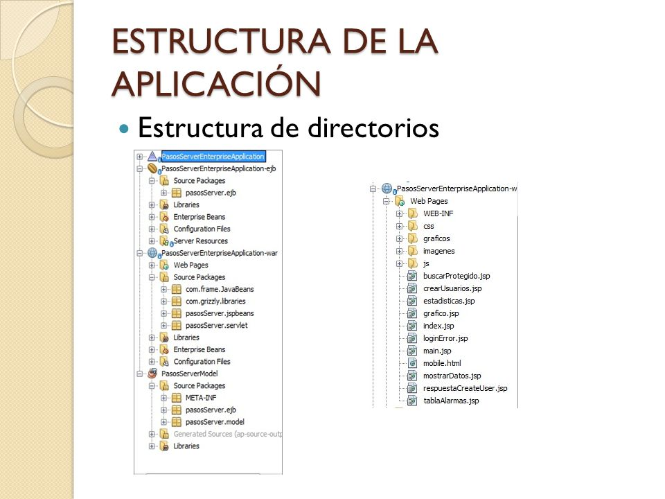 ESTRUCTURA DE LA APLICACIÓN Servlets: CometServlet CreateUserServlet EstadisticasServlet FrameHandlerServlet GraficoServlet ImagenServlet LoginServlet SearchServlet TablasAlarmasServlet