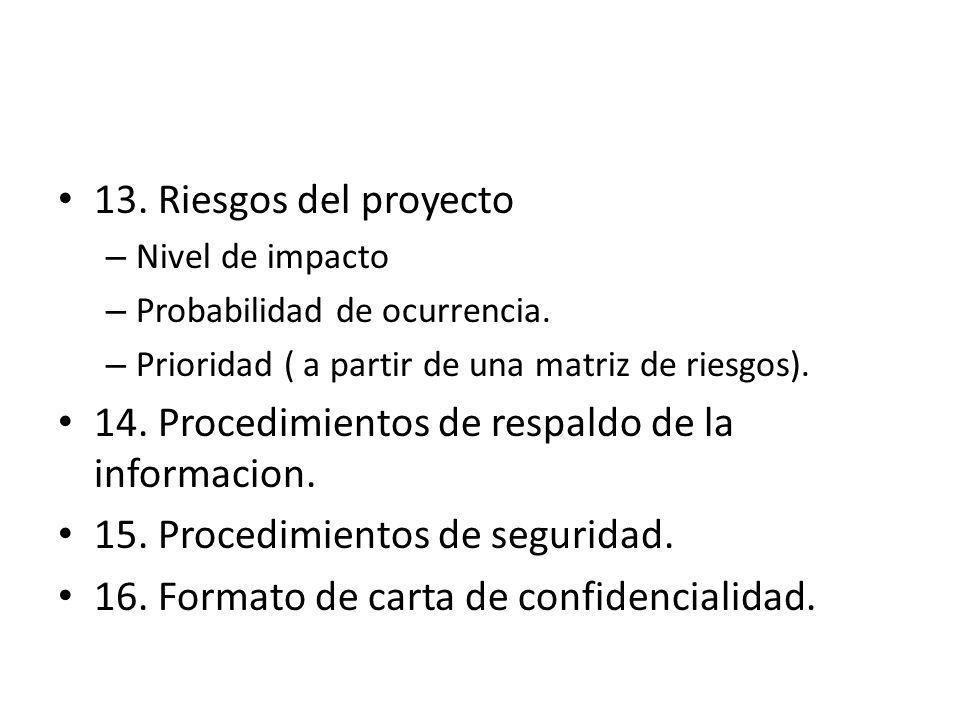 13. Riesgos del proyecto – Nivel de impacto – Probabilidad de ocurrencia. – Prioridad ( a partir de una matriz de riesgos). 14. Procedimientos de resp