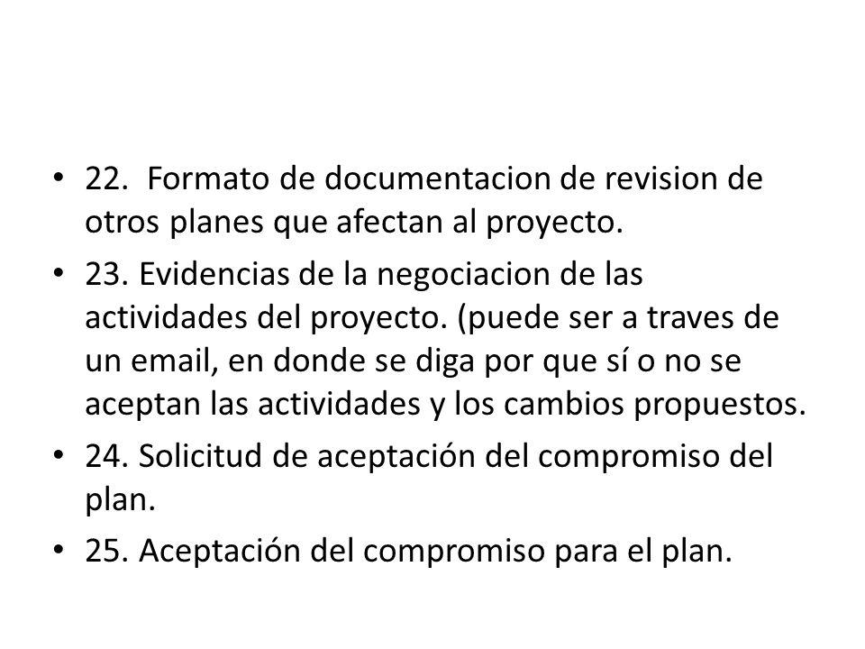 22. Formato de documentacion de revision de otros planes que afectan al proyecto. 23. Evidencias de la negociacion de las actividades del proyecto. (p