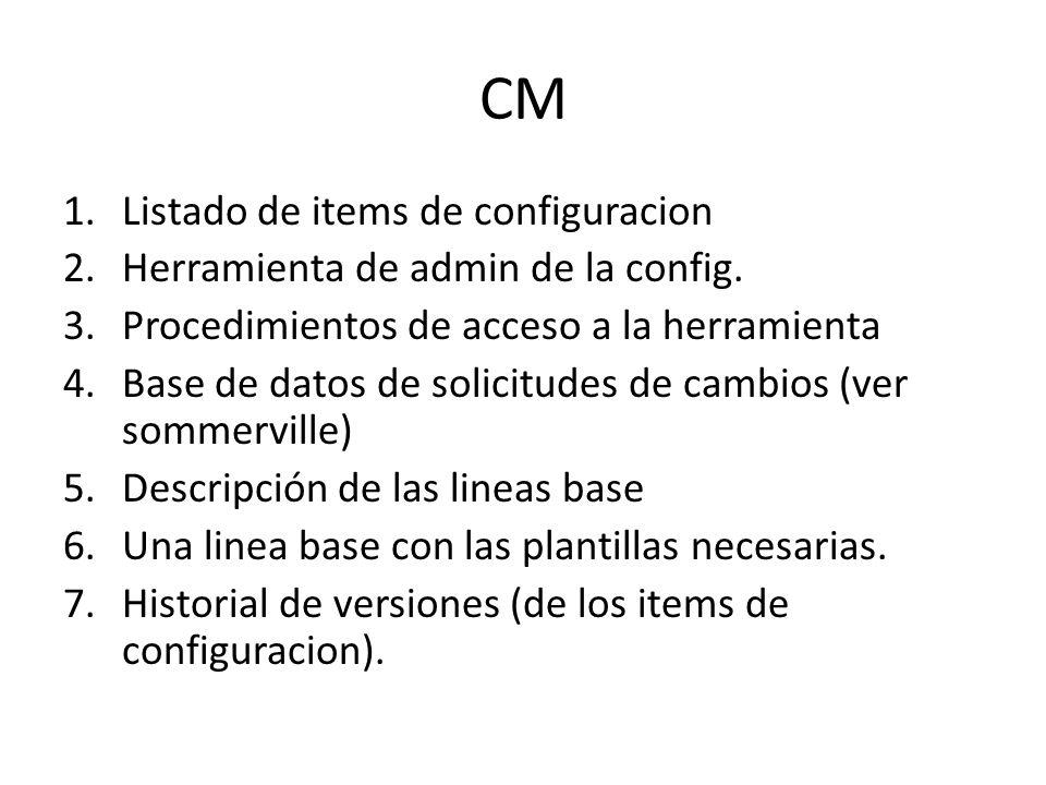CM 1.Listado de items de configuracion 2.Herramienta de admin de la config. 3.Procedimientos de acceso a la herramienta 4.Base de datos de solicitudes