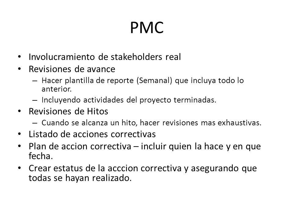 PMC Involucramiento de stakeholders real Revisiones de avance – Hacer plantilla de reporte (Semanal) que incluya todo lo anterior. – Incluyendo activi