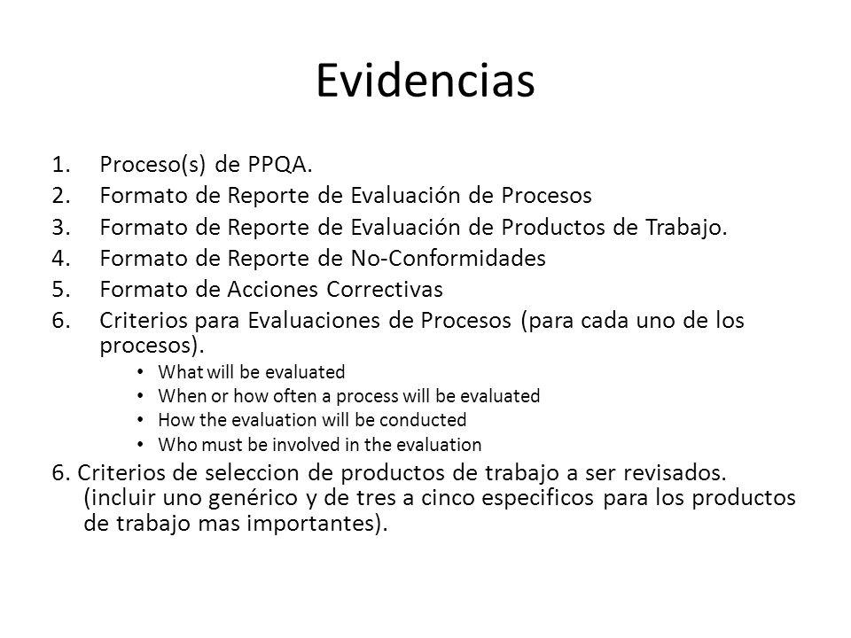 Evidencias 1.Proceso(s) de PPQA. 2.Formato de Reporte de Evaluación de Procesos 3.Formato de Reporte de Evaluación de Productos de Trabajo. 4.Formato