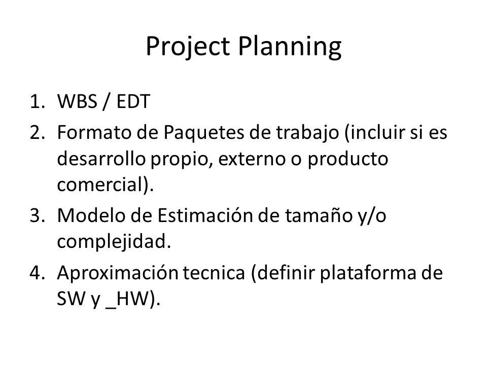 Project Planning 1.WBS / EDT 2.Formato de Paquetes de trabajo (incluir si es desarrollo propio, externo o producto comercial). 3.Modelo de Estimación