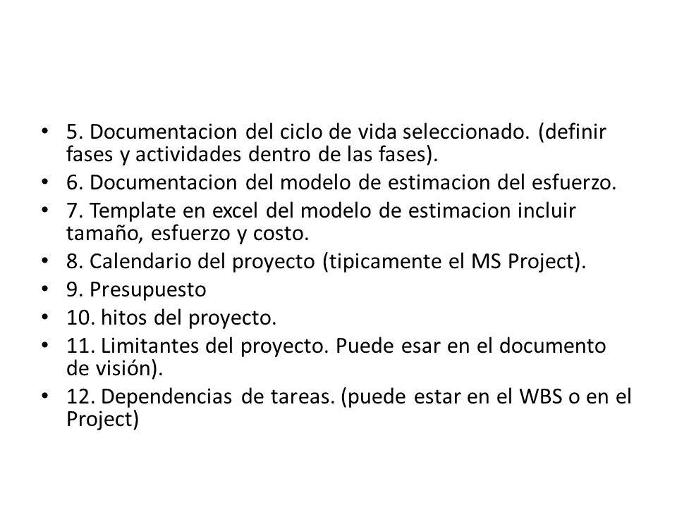 5. Documentacion del ciclo de vida seleccionado. (definir fases y actividades dentro de las fases). 6. Documentacion del modelo de estimacion del esfu