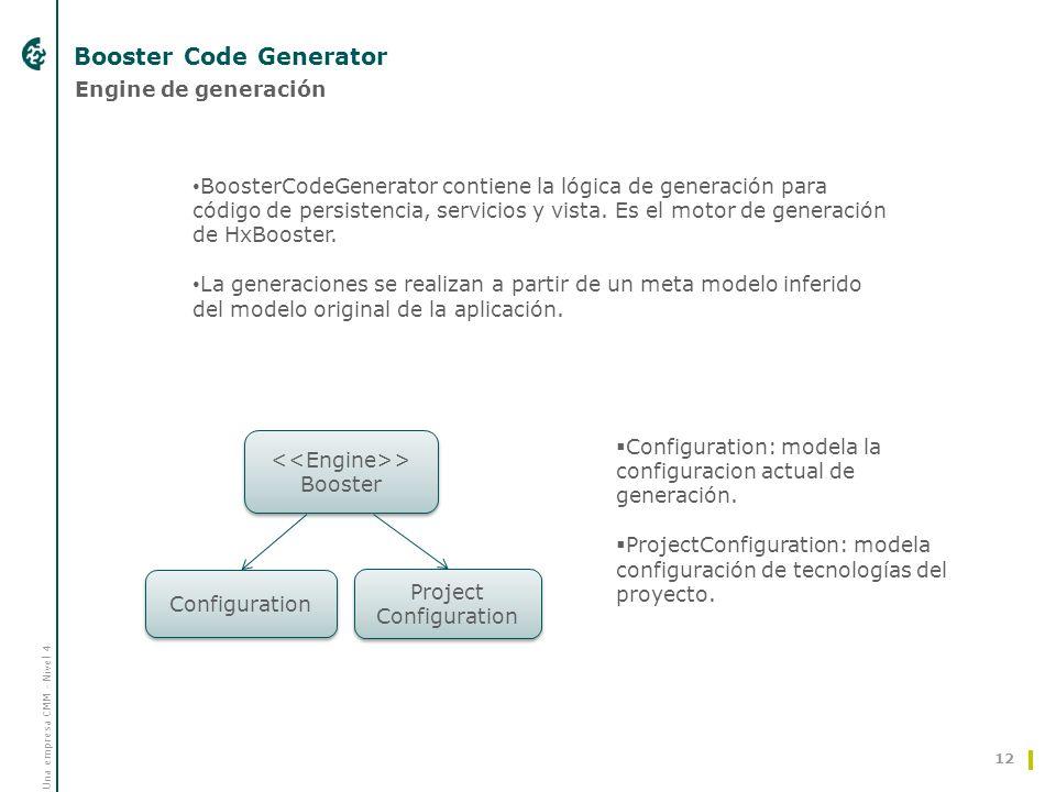 Una empresa CMM - Nivel 4 Booster Code Generator 12 > Booster > Booster Configuration Project Configuration Engine de generación Configuration: modela la configuracion actual de generación.