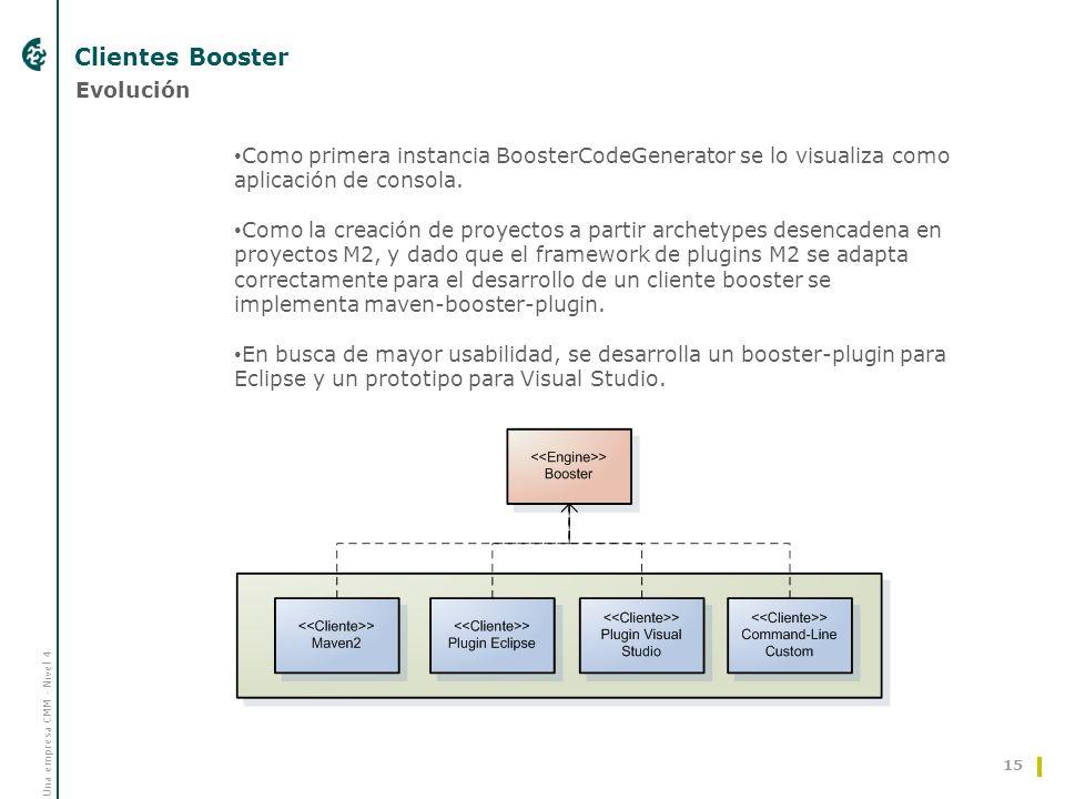 Una empresa CMM - Nivel 4 Clientes Booster 15 Evolución Como primera instancia BoosterCodeGenerator se lo visualiza como aplicación de consola. Como l