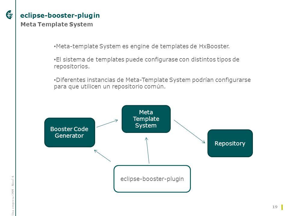 Una empresa CMM - Nivel 4 eclipse-booster-plugin 19 Meta Template System Repository Booster Code Generator eclipse-booster-plugin Meta-template System es engine de templates de HxBooster.