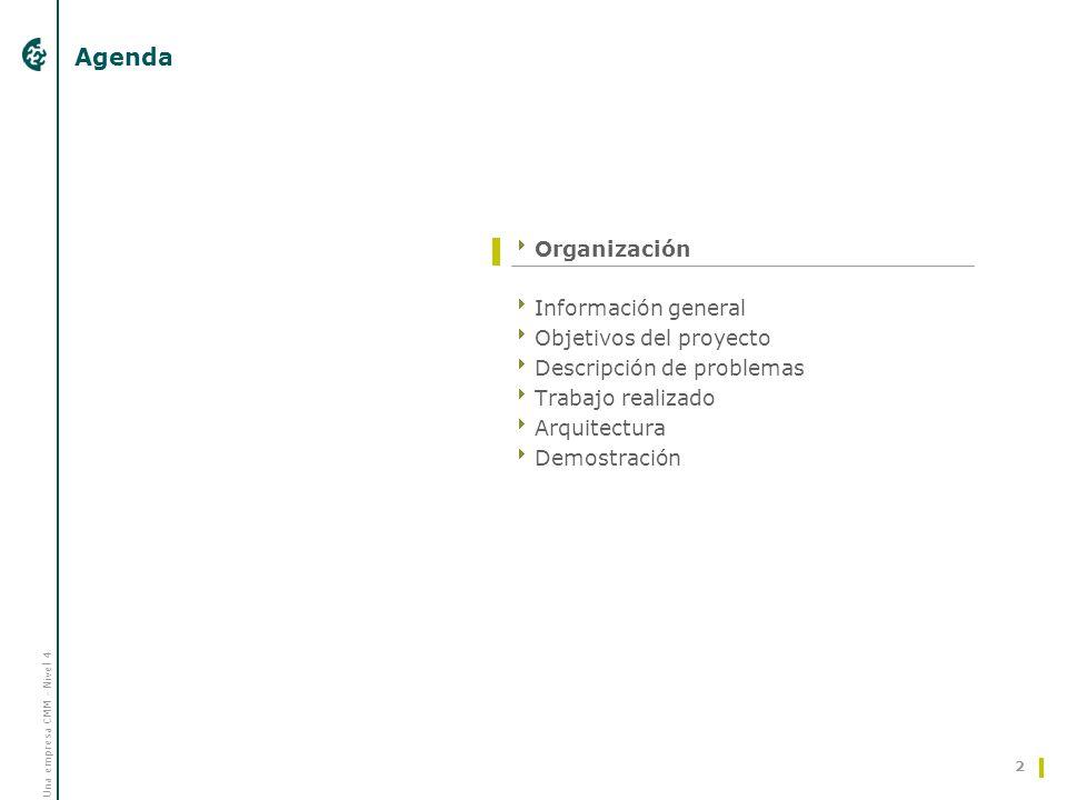 Una empresa CMM - Nivel 4 2 Agenda Organización Información general Objetivos del proyecto Descripción de problemas Trabajo realizado Arquitectura Dem
