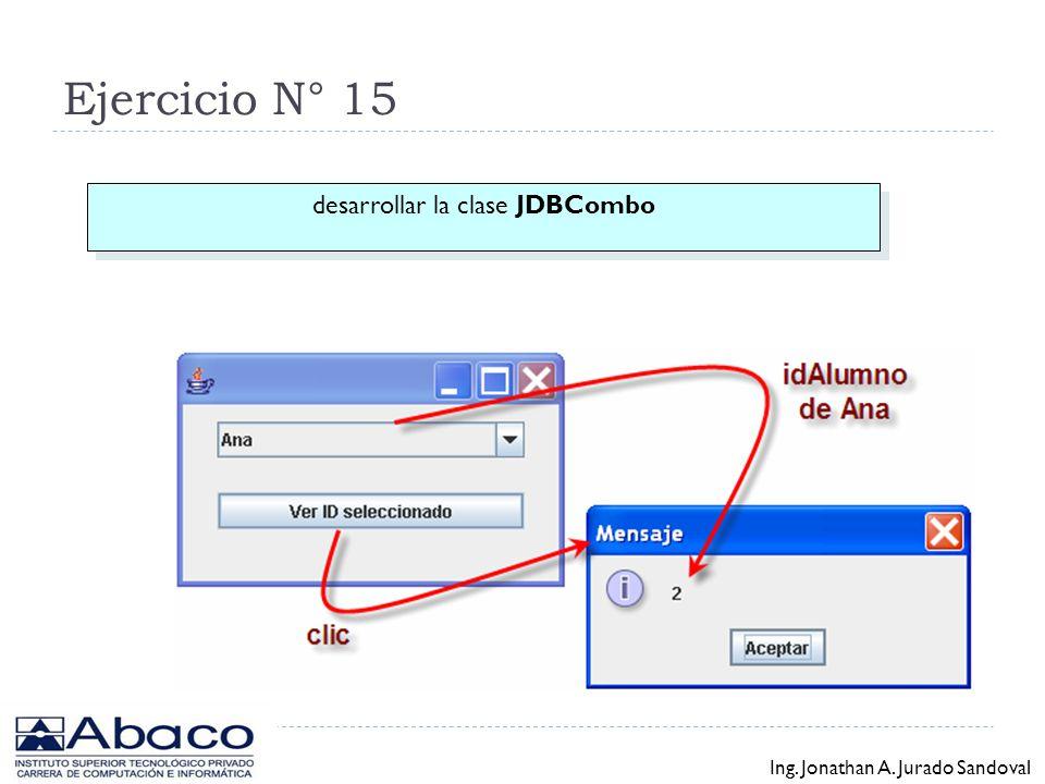 Ejercicio N° 14 desarrollar la clase JDBTable Ing. Jonathan A. Jurado Sandoval