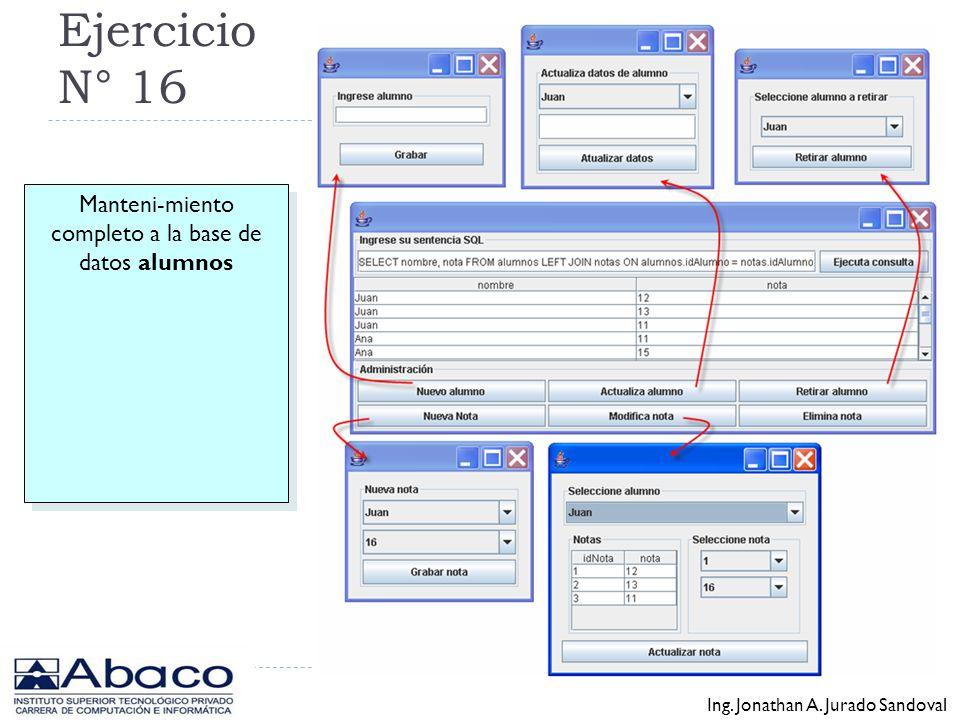 Ejercicio N° 15 desarrollar la clase JDBCombo Ing. Jonathan A. Jurado Sandoval