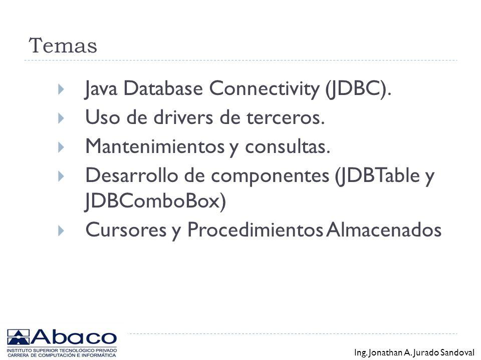 Programador en Plataforma Java y XML Introducción a JDBC - Base de datos con Java Ing. Jonathan A. Jurado Sandoval