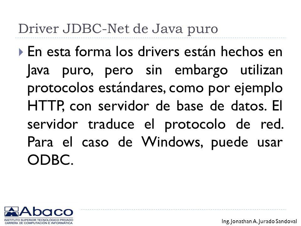 Driver de Java parcialmente nativo Esta forma está integrada de controladores que se comunican con el servidor de base de datos en el protocolo nativo