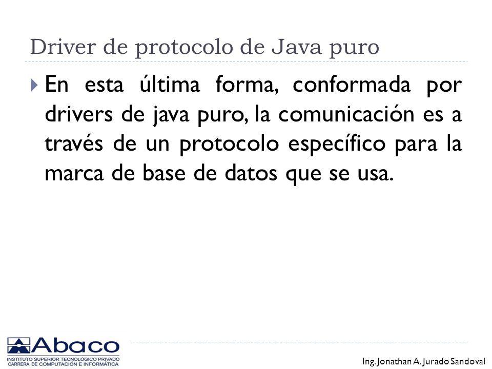 Driver JDBC-Net de Java puro En esta forma los drivers están hechos en Java puro, pero sin embargo utilizan protocolos estándares, como por ejemplo HT