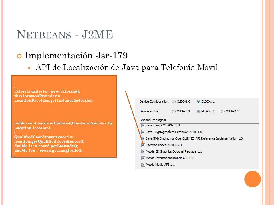 N ETBEANS - J2ME Implementación Jsr-179 API de Localización de Java para Telefonía Móvil