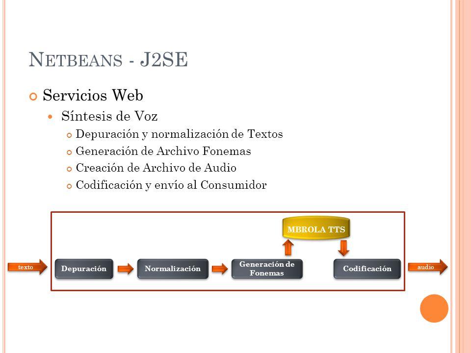 N ETBEANS - J2SE Servicios Web Síntesis de Voz Localización Procesamiento de Trayectoria Ubicación de Puntos de Interés