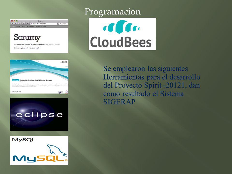 Se emplearon las siguientes Herramientas para el desarrollo del Proyecto Spirit -20121, dan como resultado el Sistema SIGERAP Programación