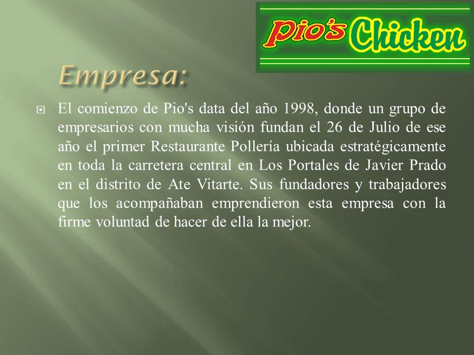 El comienzo de Pio's data del año 1998, donde un grupo de empresarios con mucha visión fundan el 26 de Julio de ese año el primer Restaurante Pollería