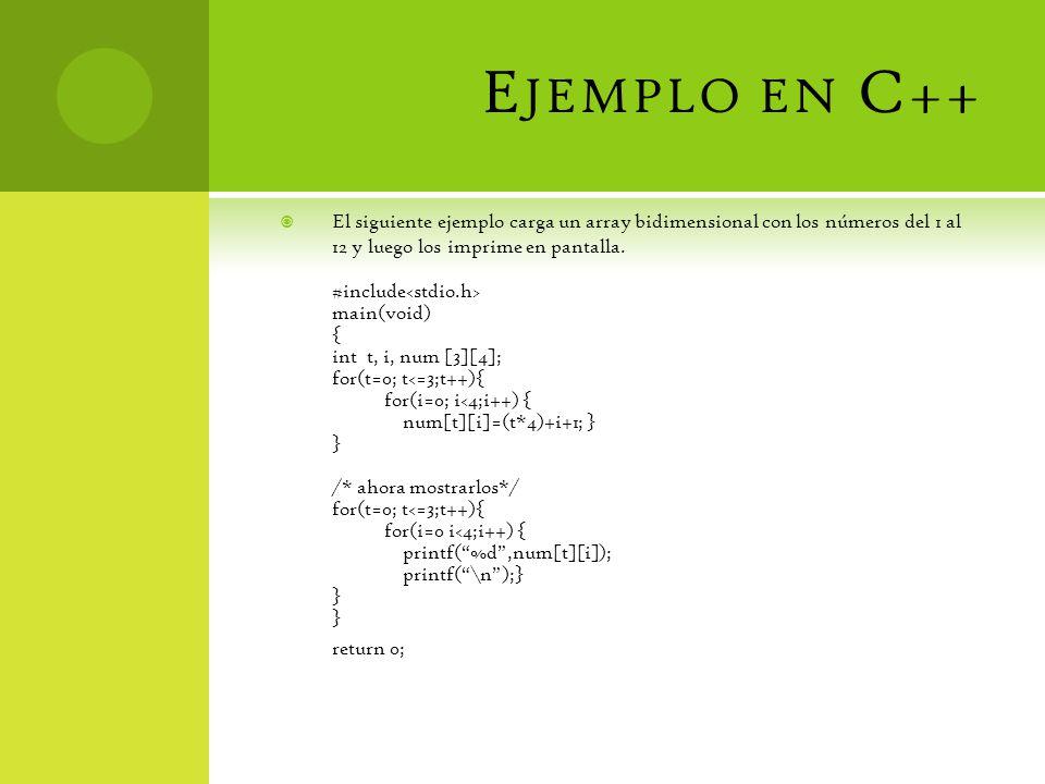 E JEMPLO EN C++ El siguiente ejemplo carga un array bidimensional con los números del 1 al 12 y luego los imprime en pantalla.