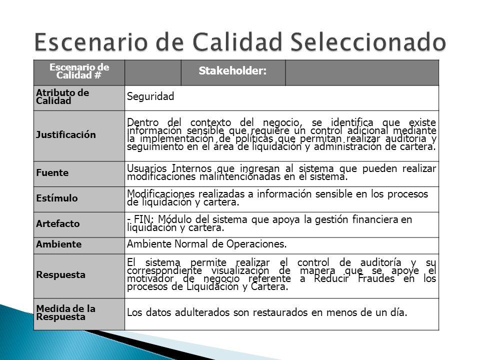 Escenario de Calidad # Stakeholder: Atributo de Calidad Seguridad Justificación Dentro del contexto del negocio, se identifica que existe información