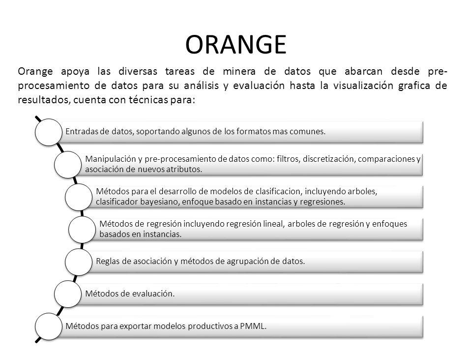 ORANGE Entradas de datos, soportando algunos de los formatos mas comunes. Manipulación y pre-procesamiento de datos como: filtros, discretización, com