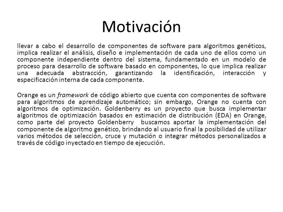 Motivación llevar a cabo el desarrollo de componentes de software para algoritmos genéticos, implica realizar el análisis, diseño e implementación de