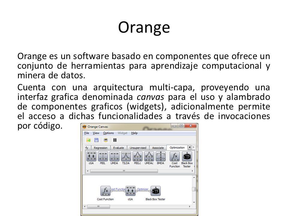 Orange Orange es un software basado en componentes que ofrece un conjunto de herramientas para aprendizaje computacional y minera de datos. Cuenta con