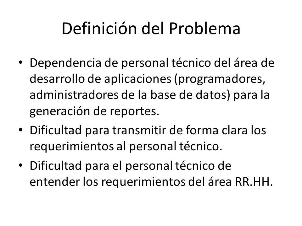 Definición del Problema Dependencia de personal técnico del área de desarrollo de aplicaciones (programadores, administradores de la base de datos) pa