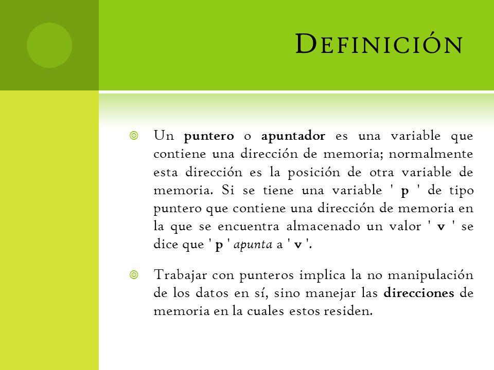 D EFINICIÓN Un puntero o apuntador es una variable que contiene una dirección de memoria; normalmente esta dirección es la posición de otra variable d