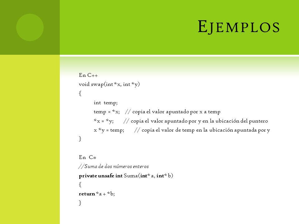 E JEMPLOS En C++ void swap(int *x, int *y) { int temp; temp = *x; // copia el valor apuntado por x a temp *x = *y; // copia el valor apuntado por y en