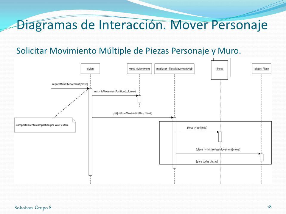 Diagramas de Interacción. Mover Personaje Sokoban. Grupo 8. 18 Solicitar Movimiento Múltiple de Piezas Personaje y Muro.