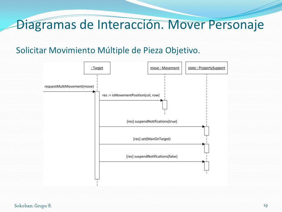 Diagramas de Interacción. Mover Personaje Sokoban. Grupo 8. 19 Solicitar Movimiento Múltiple de Pieza Objetivo.