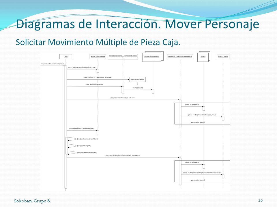 Diagramas de Interacción. Mover Personaje Sokoban. Grupo 8. 20 Solicitar Movimiento Múltiple de Pieza Caja.
