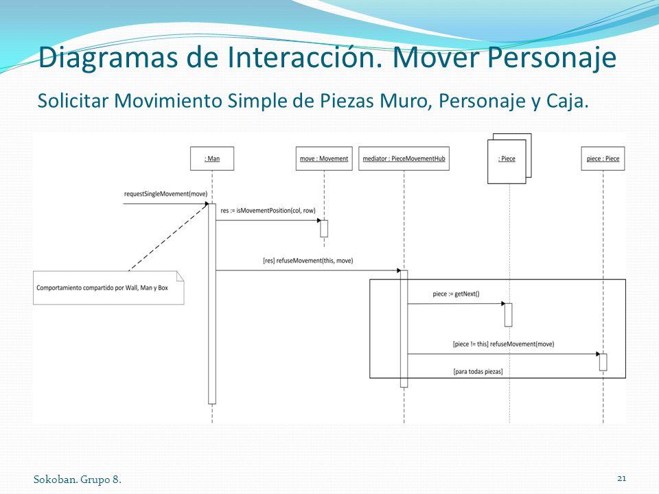 Diagramas de Interacción. Mover Personaje Sokoban. Grupo 8. 21 Solicitar Movimiento Simple de Piezas Muro, Personaje y Caja.
