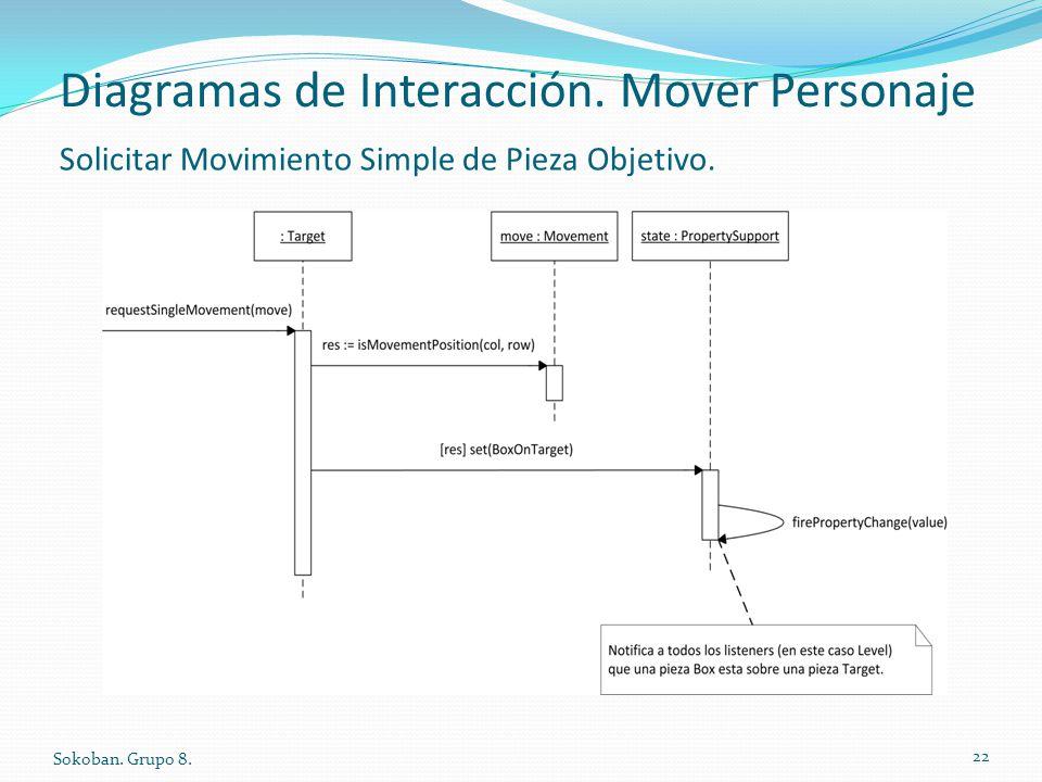 Diagramas de Interacción. Mover Personaje Sokoban. Grupo 8. 22 Solicitar Movimiento Simple de Pieza Objetivo.