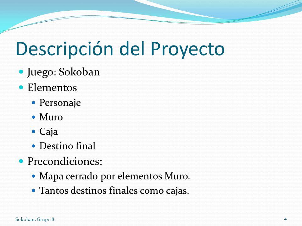 Descripción del Proyecto Juego: Sokoban Elementos Personaje Muro Caja Destino final Precondiciones: Mapa cerrado por elementos Muro. Tantos destinos f