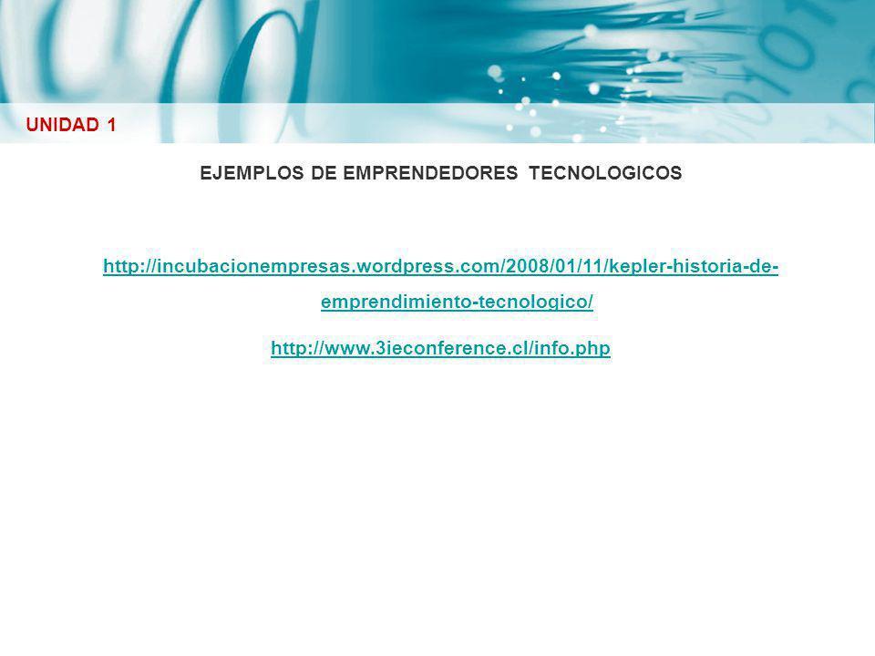 EJEMPLOS DE EMPRENDEDORES TECNOLOGICOS http://incubacionempresas.wordpress.com/2008/01/11/kepler-historia-de- emprendimiento-tecnologico/ http://www.3